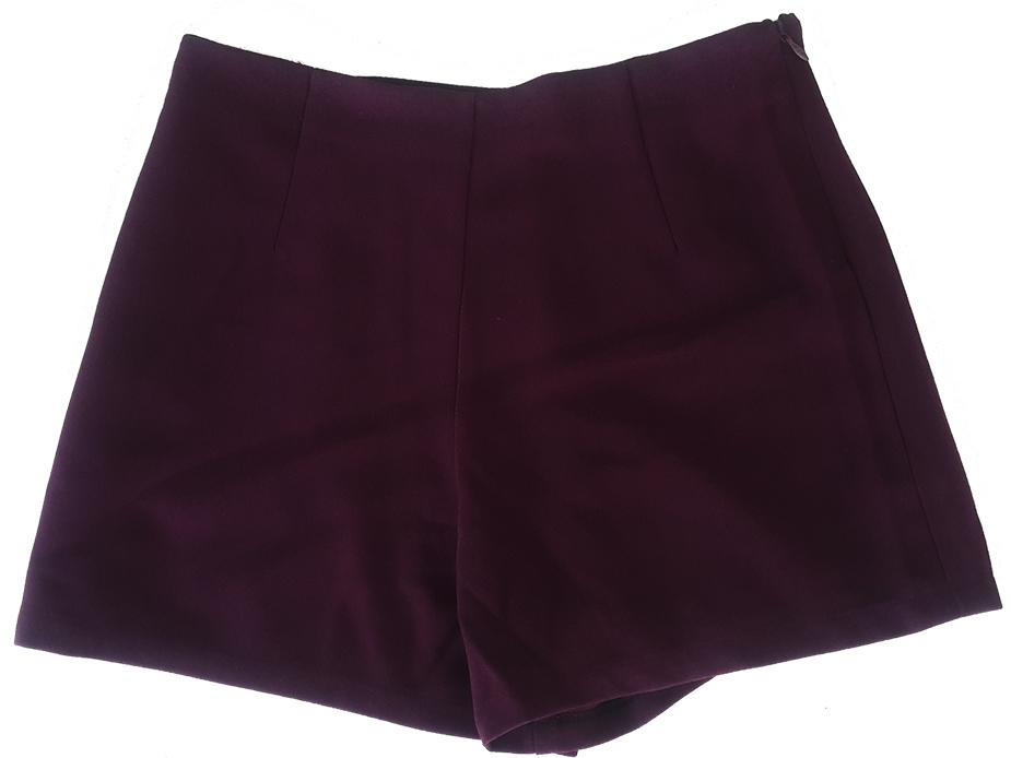 กางเกงขาสั้นเอวสูงขอบเรียบผ้าฮานาโกะ ซิปซ้าย กระเป๋าขวา สีม่วงมังคุด Size S M L XL