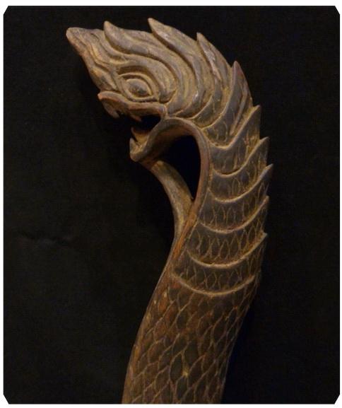 ไม้แกะสลักเก่า พญานาค ศิลปะพม่า