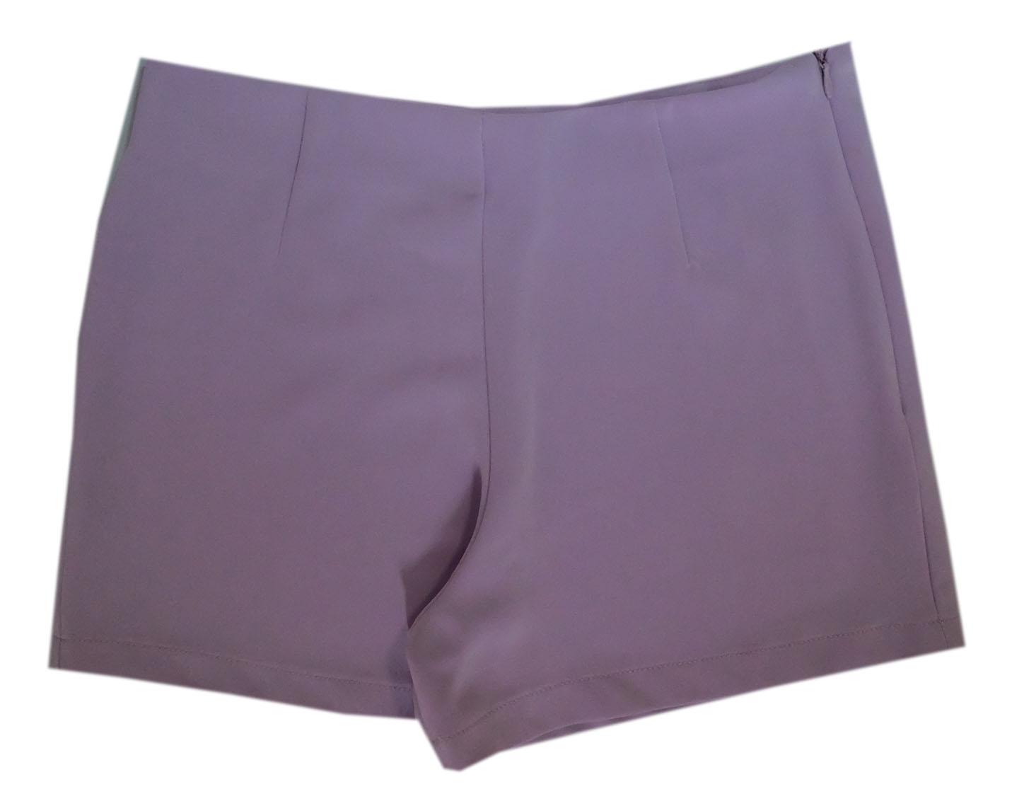 กางเกงขาสั้นเอวสูงขอบเรียบผ้าฮานาโกะ ซิปซ้าย กระเป๋าขวา สีม่วง Size S M L XL