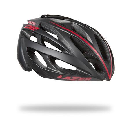 หมวกจักรยาน LAZER O2 สี Black Red Line