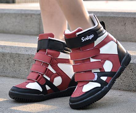 รองเท้าสีผสมรองเท้าลำลอง Velcro 10cmเวอร์ชั่นเกาหลี