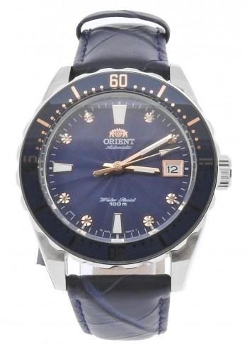 นาฬิกาผู้หญิง Orient รุ่น SAC0A004D0, Automatic Crystals 100m Blue Leather