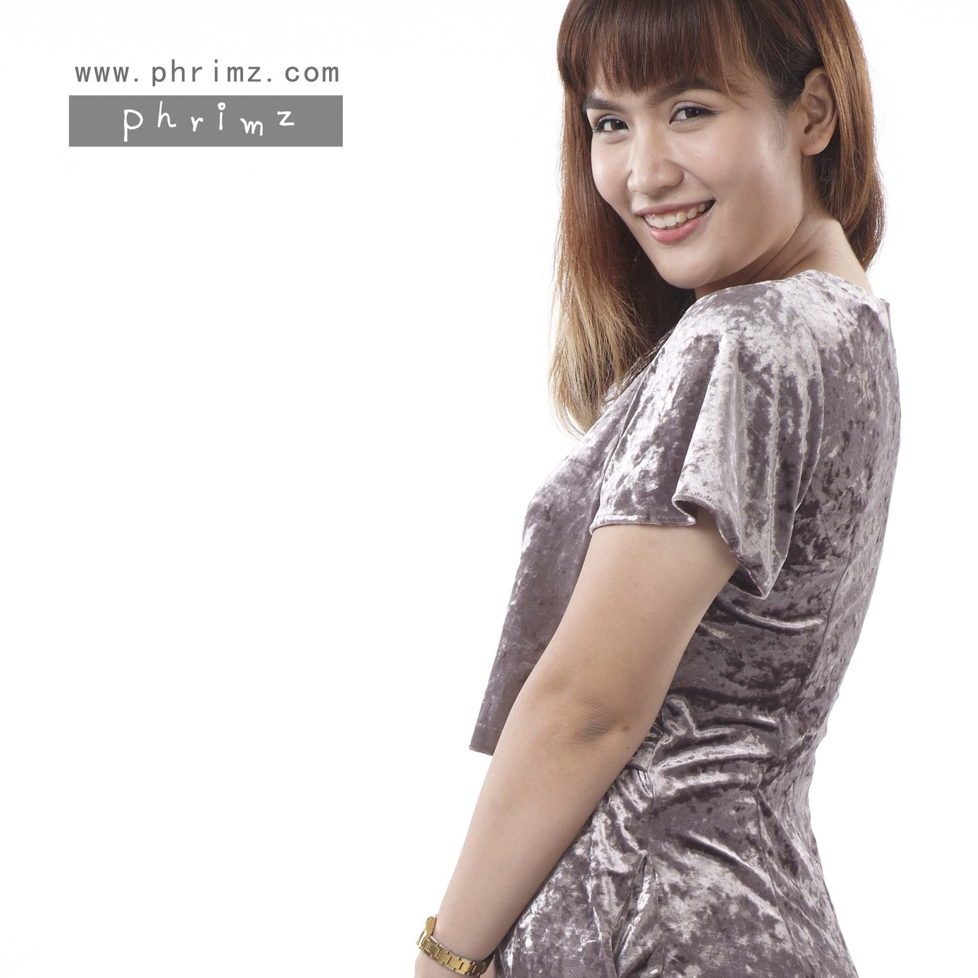ชุดให้นม Phrimz : Velvet Breastfeeding Dress - Brown สีน้ำตาล