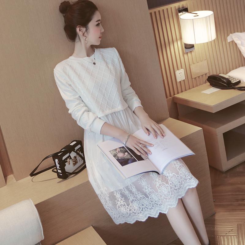 ชุดคลุมท้องแขนยาว ลายนูน ผ้านุ่มหนา ด้านล่างเป็นผ้าลูกไม้ มีซับใน ทรงน่ารัก M,L,XL