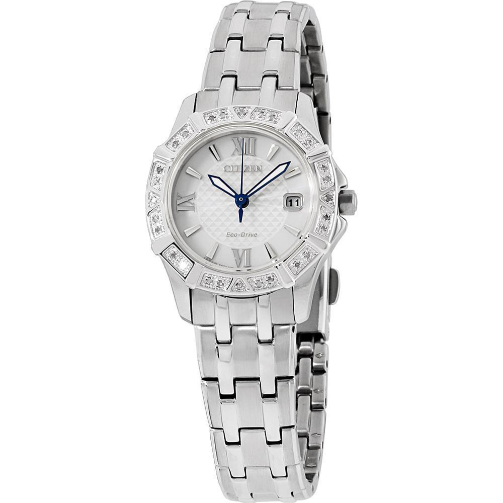 นาฬิกาผู้หญิง Citizen Eco-Drive รุ่น EW2360-51A, Diamond Stainless Steel