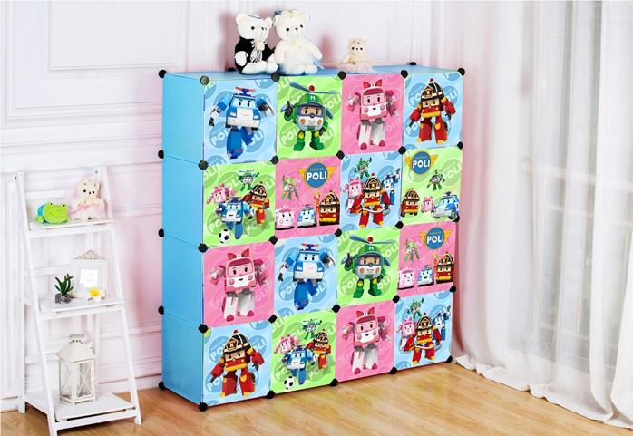 ตู้เก็บของ ตู้เสื้อผ้าเด็ก DIY ลาย โรโบคาร์ Robocar Poli