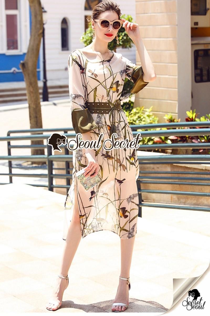 เสื้อผ้าแฟชั่นเกาหลี Seoul Secret Say's... Chic Branches Bird Print Ropy Belt Maxi Dress