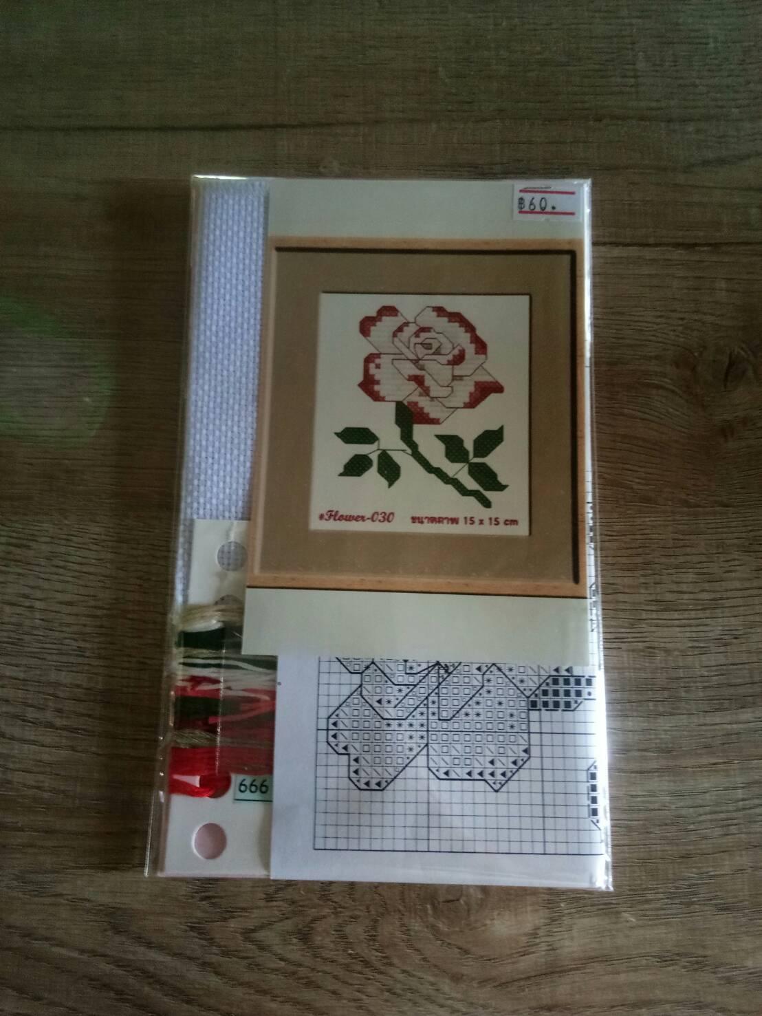 ชุดปักครอสติช ลายดอกกุหลาบ ขนาด 15*15 ซม.ผ้าครอสติช 14 CT ไม่พิมพ์ลายปัก ไหมคอตตอน สี+ผังลาย+เข็ม (ส่งฟรี)