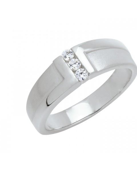 แหวนประดับเพชรฝังสอด 3 เม็ด หุ้มทองคำขาวแท้