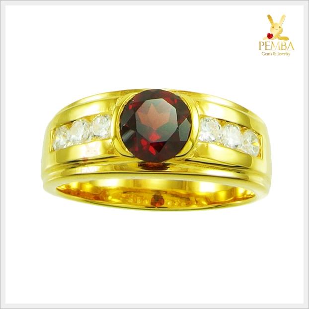 แหวนโกเมนแท้ เงินแท้ชุบทอง โดดเด่นดูมีสไตล์
