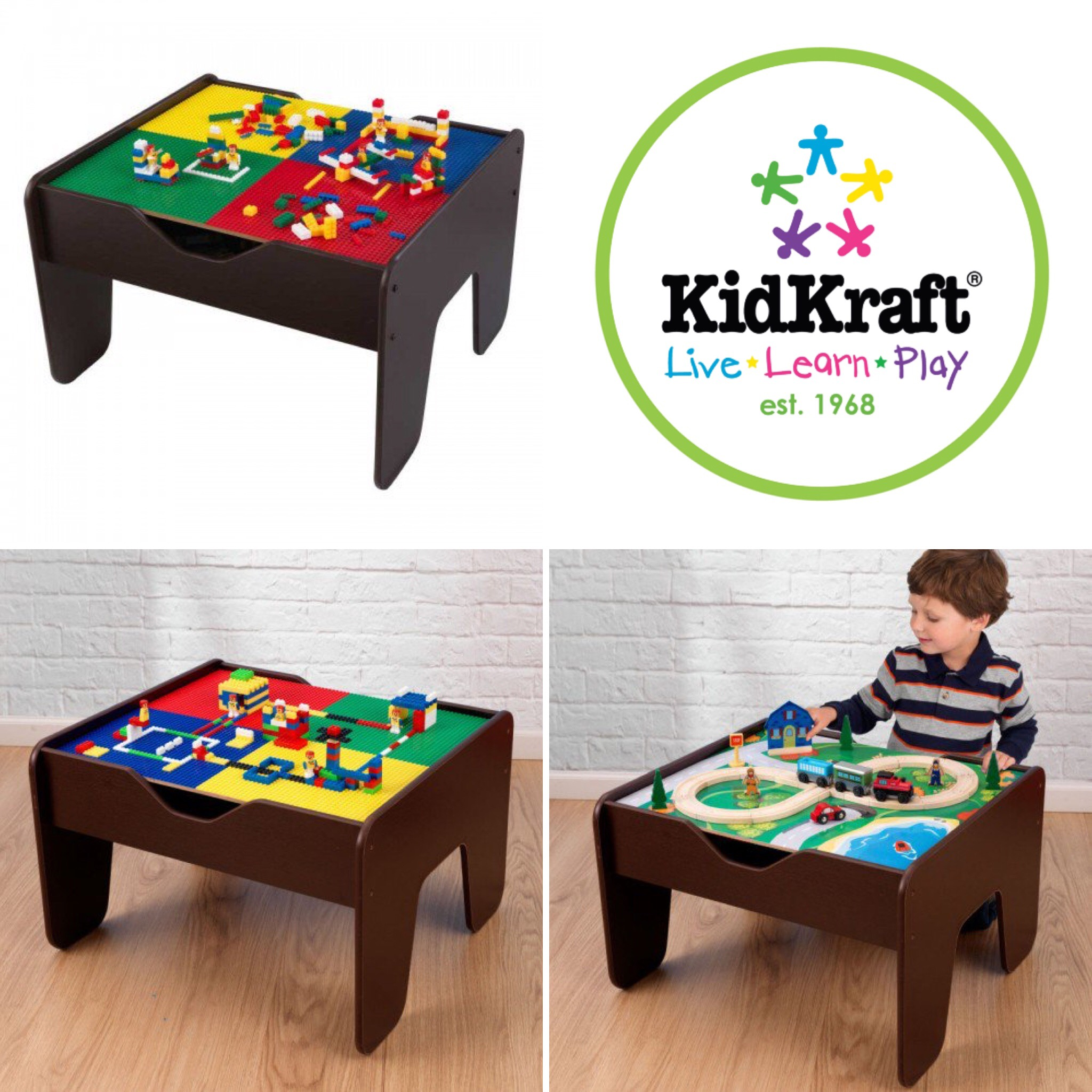 Kidkraft 2 In 1 Activity Table With Lego Compatible Board Natural
