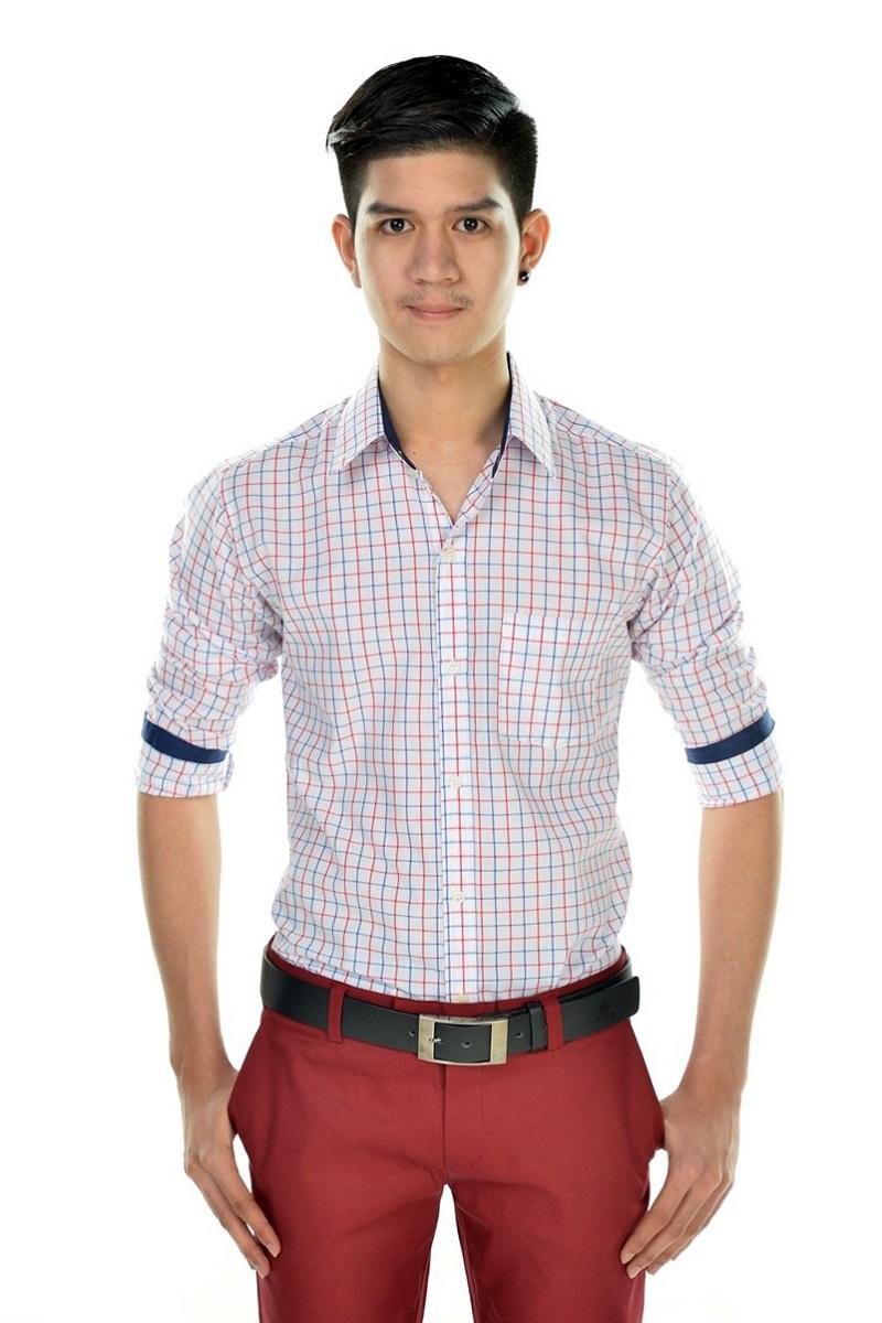 เสื้อเชิ้ตผู้ชายลายตารางสีแดง-น้ำเงิน ผ้าคอตตอน