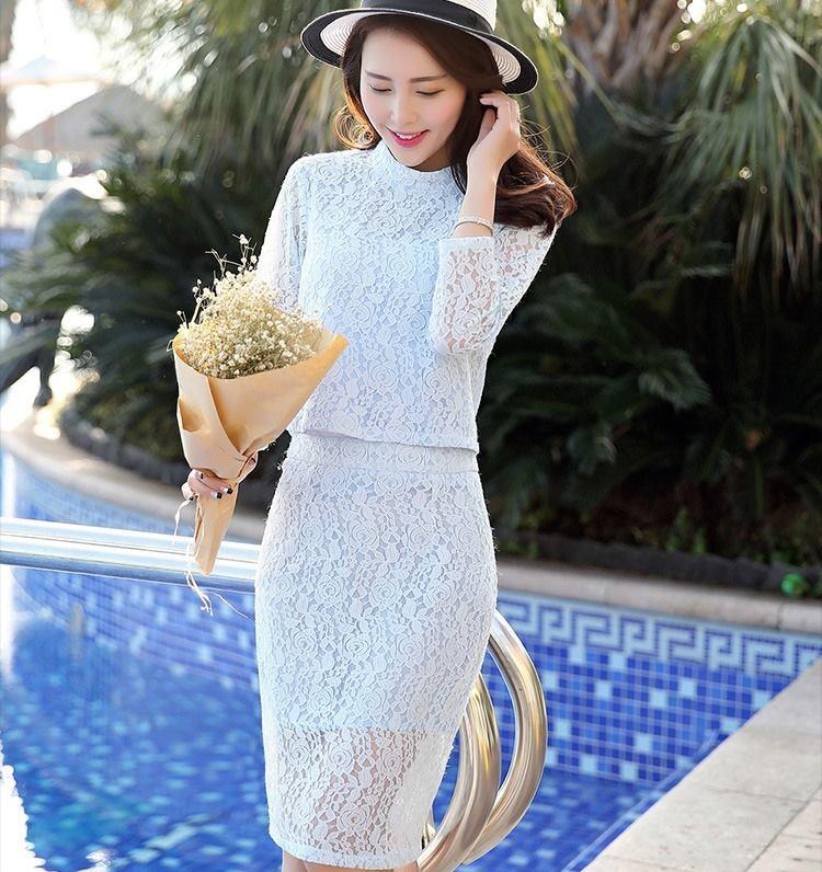 ชุดออกงาน ชุดไปงานแต่งงานสีฟ้า ผ้าลูกไม้ set เสื้อและกระโปรงผ้าลูกไม้ สวยๆ เรียบหรู ดูดี