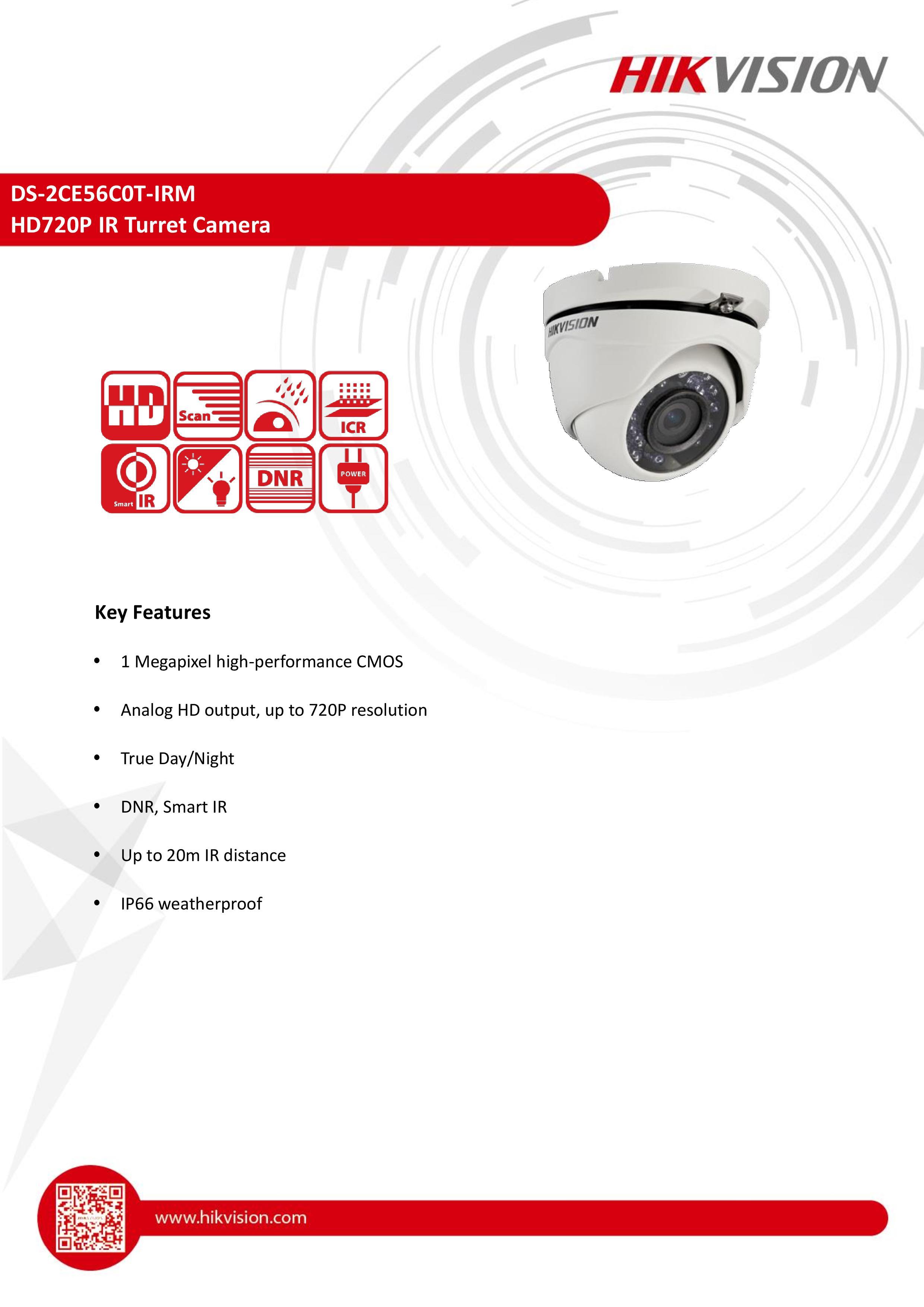 DS-2CE56C0T-IRMHD720P IR Turret Camera 2.8m.,3mm.,6mm