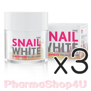 (ซื้อ3 ราคาพิเศษ) Snail White Concentrate Facial Cream 50mL นามุ ไลฟ์ สเนลไวท์ คอนเซนเทรท ครีม ครีมบำรุง เมือกหอยทาก สูตรเข้มข้น