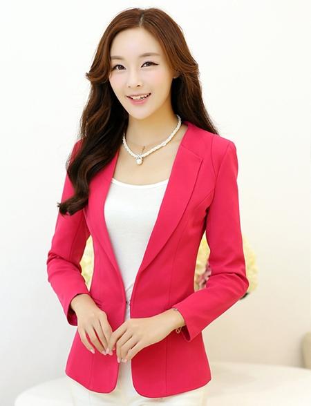 เสื้อสูททำงานผู้หญิง สีชมพู แขนยาว คอปก เอวเข้ารูป