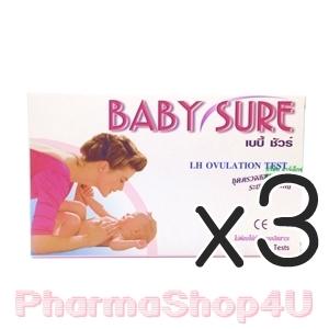 (ซื้อ3 ราคาพิเศษ) Baby Sure ชุดตรวจสอบระยะการตกไข่แบบหยด LH Ovulation 1 กล่อง มี 5 Test ถ้าแสดงสีชมพูเข้มชัดเจน เเสดงว่าใกล้ไข่ตก