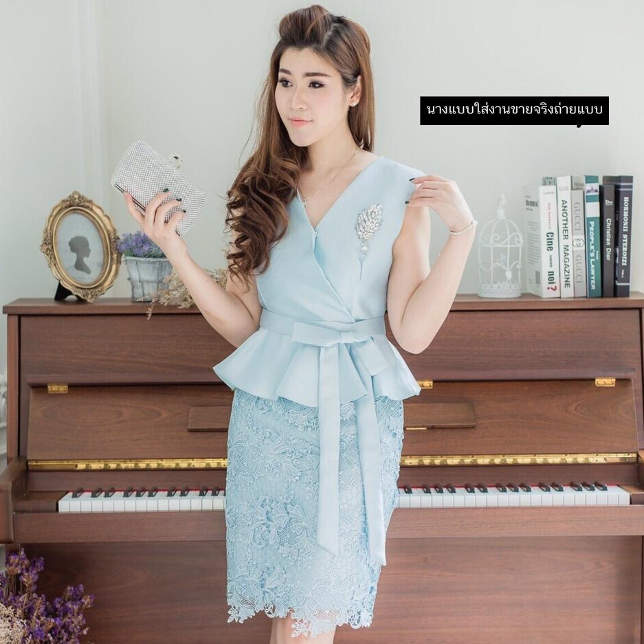 ชุดเดรสสวยหรูสีฟ้า ออกงาน ไปงานแต่งงาน ผ้าไหมอิตาลี ทรงเข้ารูป คอวี แขนกุด ชุดสวยเหมือนแบบ ราคาถูก