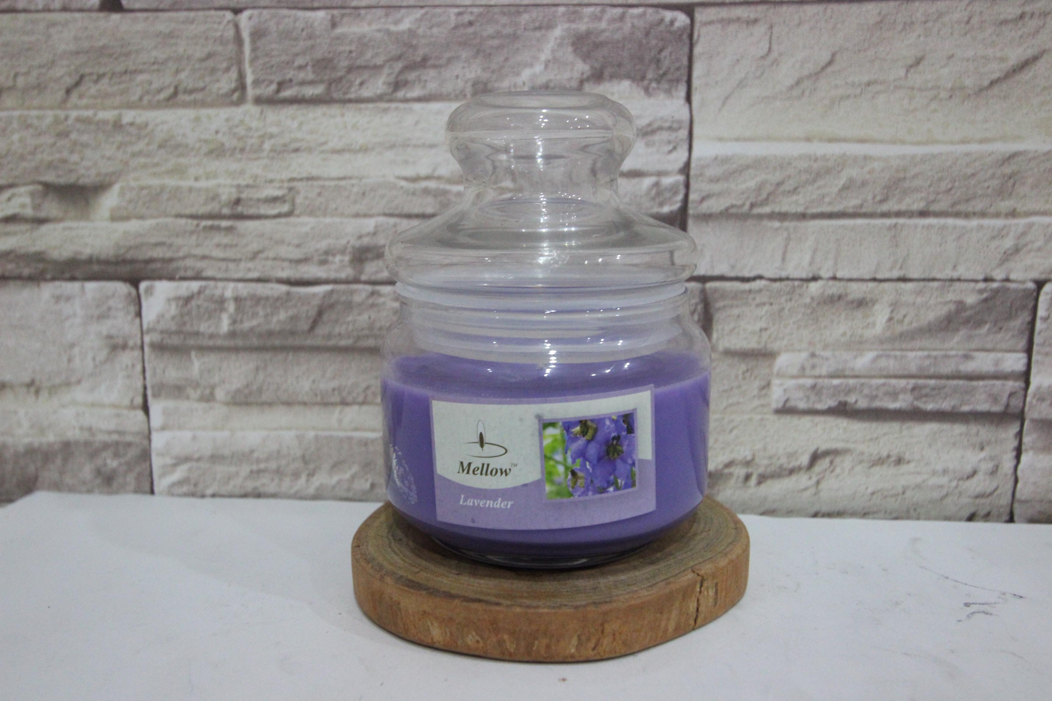 เทียนหอมในโหลแก้วอย่างดี 8 ออนส์ กลิ่น ลาเวนเดอร์ (Jar Mottle Candle)