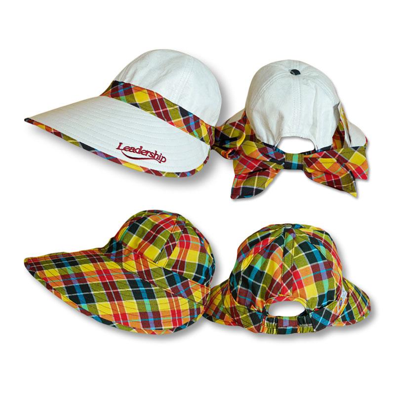 หมวกกอล์ฟ กันUV กันแดด ใส่ได้2ด้าน สีขาว/ลายสก๊อตสีแดงผสมเขียว by Season Tales