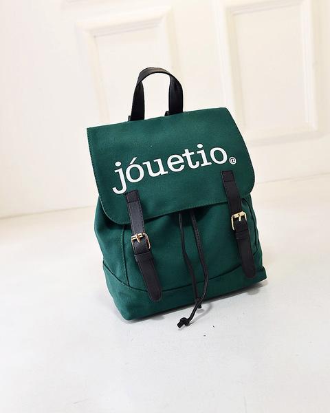 พร้อมส่ง-กระเป๋าเป้ สะพายหลังสไตล์ญี่ปุ่น สกรีนJouetio สีเขียว