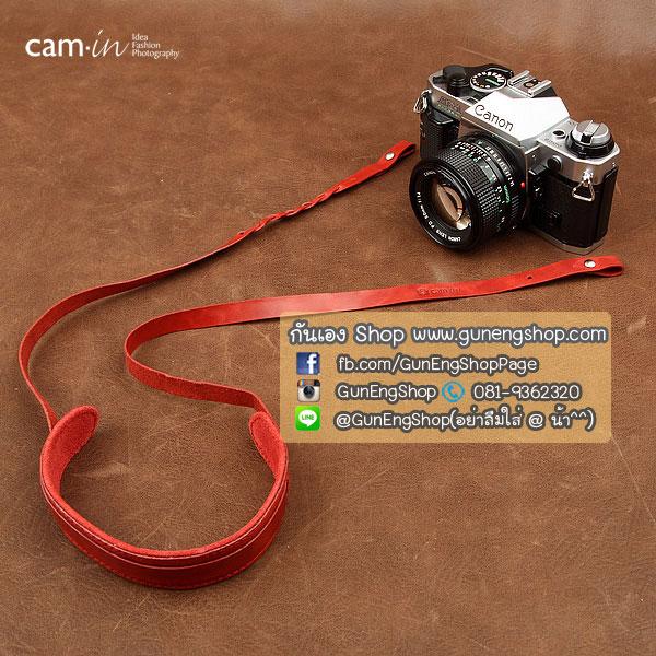 สายคล้องกล้องหนังแท้สวยๆ Cam-in สำหรับ Mirrorless Leica สีแดง