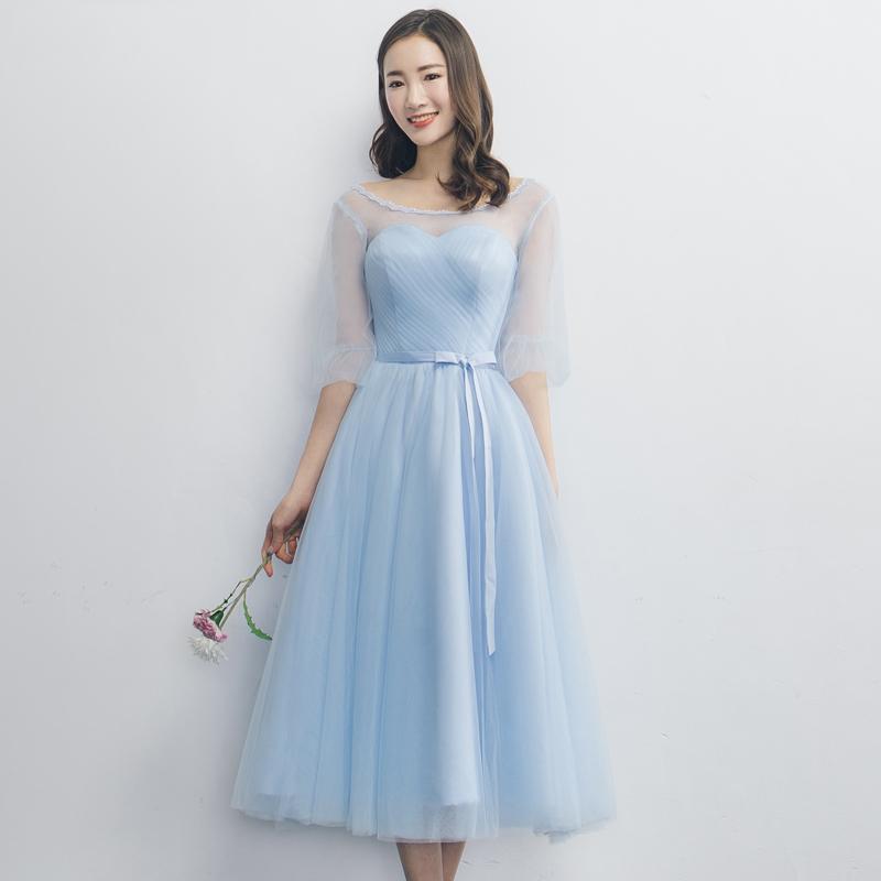 ชุดราตรียาวสีฟ้า คอกลม แขนสามส่วน กระโปรงบานทรงเจ้าหญิง สวยหวาน น่ารัก