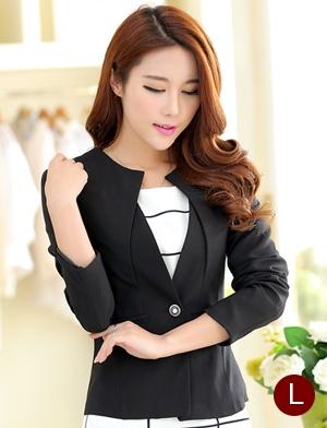 เสื้อสูททำงานผู้หญิง สีดำ คอจับจีบ แขนยาว กระดุม 1 เม็ด เอวเข้ารูป แต่งกระเป๋าหลอก ผ้าโพลีเอสเตอร์ มีซับใน ไซส์ L