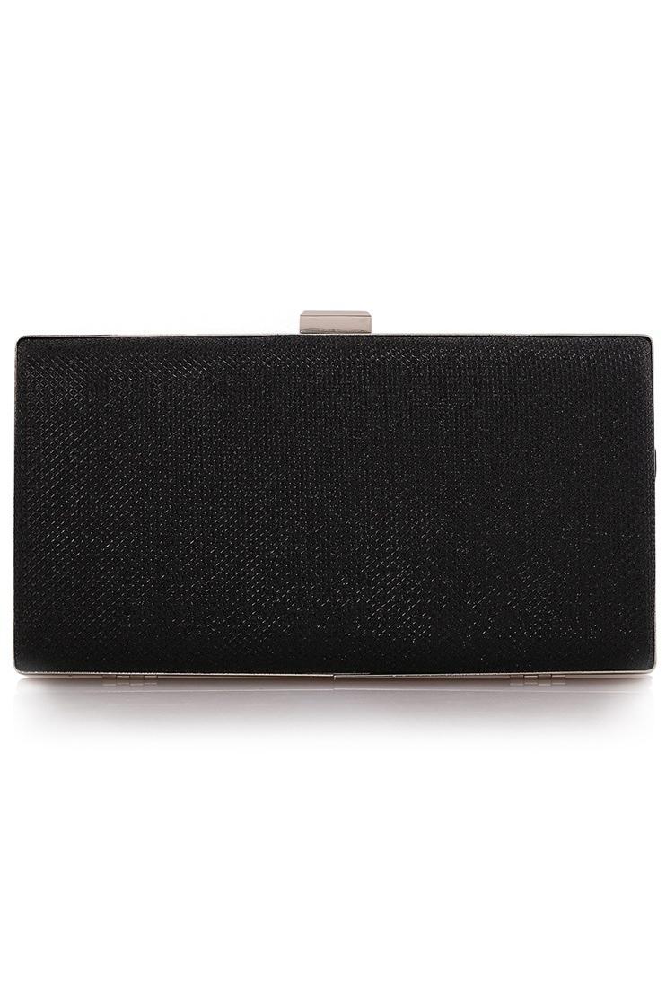 กระเป๋าคลัทช์ออกงานสีดำ แต่งเพชรระยิบระยับ ลายตาราง ทรงยาวสี่เหลี่ยม สำหรับถือออกงานกลางคืน ไปงานแต่งงาน สวยสง่า หรูหรา