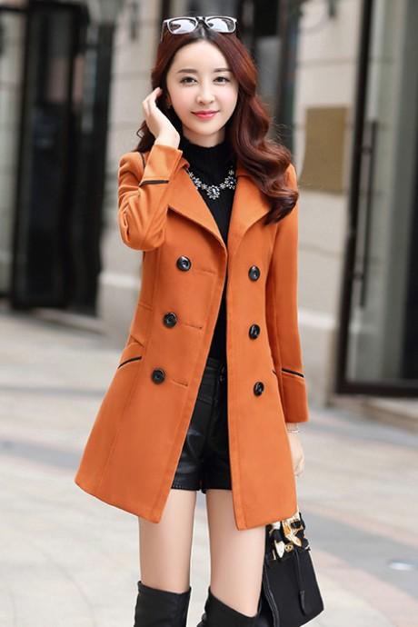 (สินค้าหมด) เสื้อโค้ทกันหนาว สีส้ม แต่งขลิบสีดำ ตัวยาวคลุมสะโพก พร้อมเข็มขัดเข้ากับตัวชุด