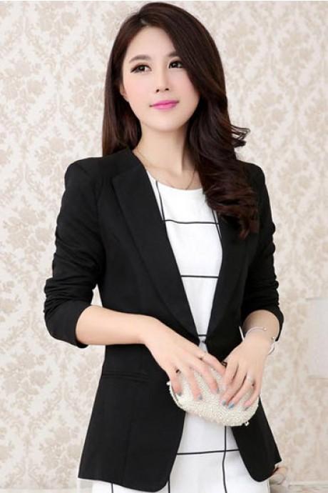 เสื้อสูทแฟชั่น เสื้อสูทผู้หญิง สีดำ คอปก ตัวยาวคลุมสะโพก