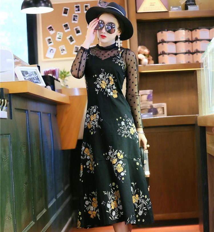 ชุดเดรสยาว 2 ชิ้น เดรสลายดอกไม้ + เสื้อซีทรูสีดำ