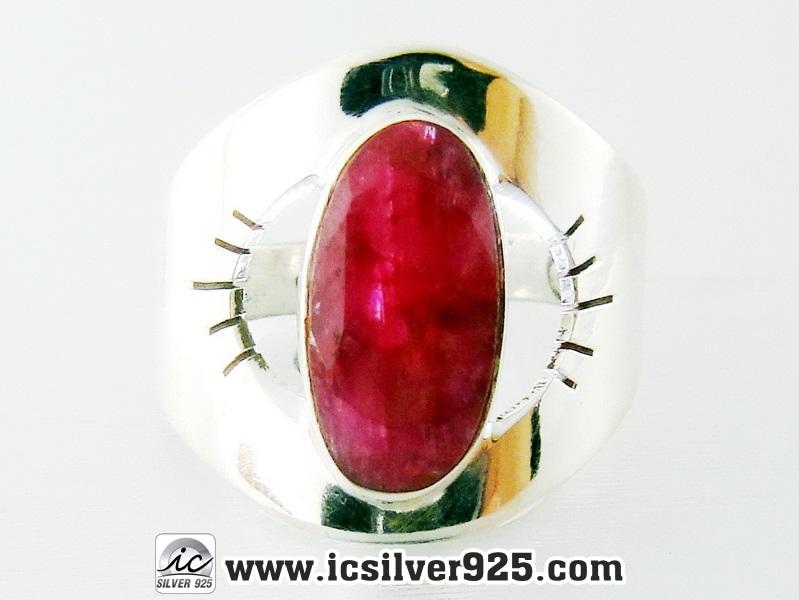 ▽ทับทิม Indian Ruby- แหวนเงินแท้ 925 (แหวนเบอร์ : 52 ,3.9g)