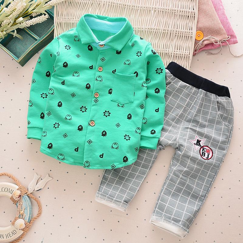 เสื้อเชิ้ตคอปกแขนยาวสีเขียว+กางเกงขายาวสีเทา