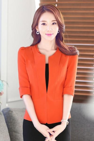 เสื้อสูทแฟชั่น เสื้อสูทผู้หญิง สีส้ม แขนสามส่วน