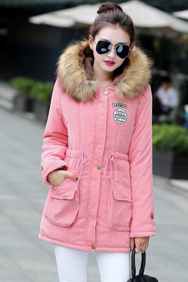 เสื้อกันหนาวผู้หญิง สีชมพู มีฮู้ทพร้อมผ้าขนสัตว์ แต่งสายรูดจั๊มช่วงเอว