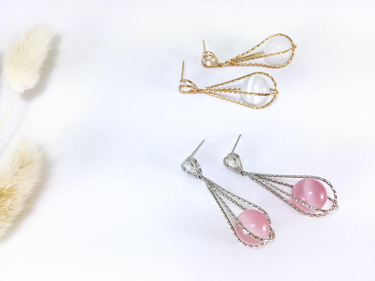 Pearly Drop Earring ต่างหูแฟชั่นเกาหลี ตุ้มหูห้อย ทรงหยดน้ำสีเงิน พร้อมส่งค่ะ