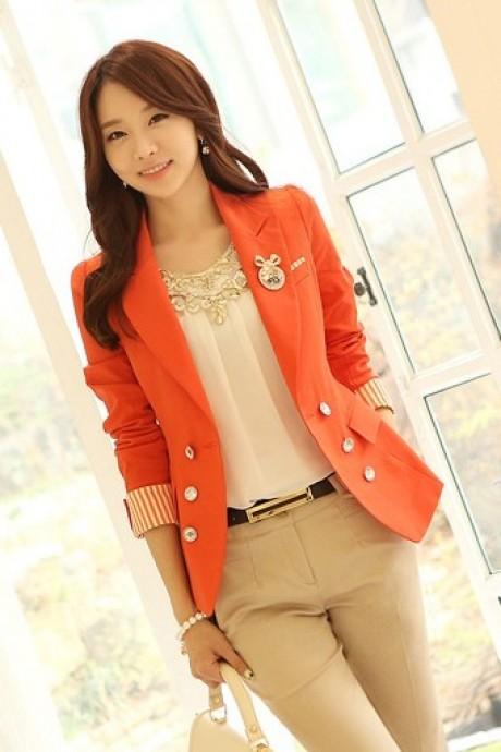 (สินค้าหมด) เสื้อสูทแฟชั่น เสื้อสูทผู้หญิง สีส้ม คอปก แต่งแขนพับลายทาง