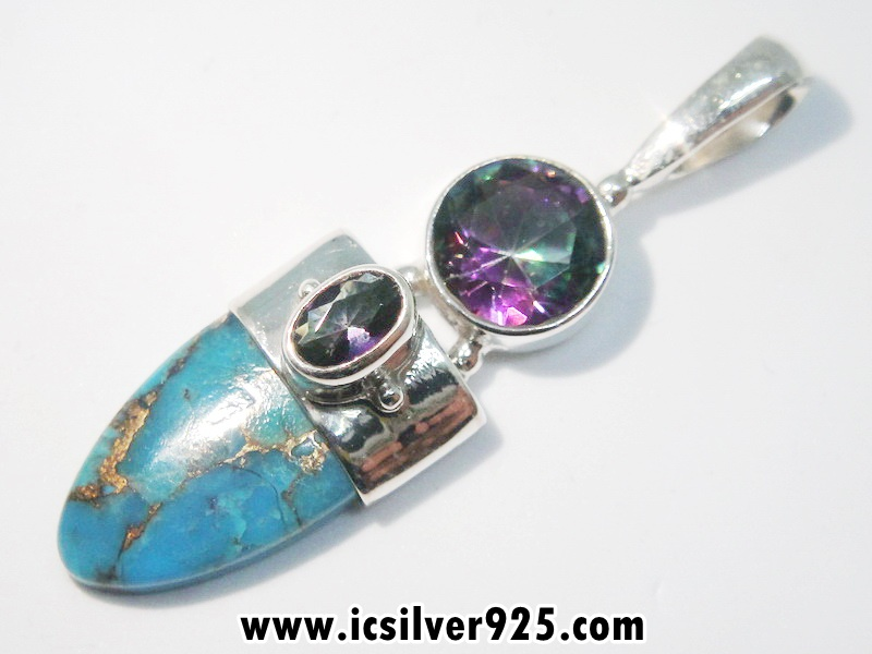 ▽Copper Blue Turquoise & Rainbow Topaz จี้เงินแท้ 925 (4.7g)