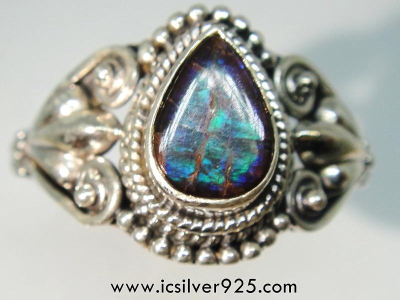 แอมโมไลต์จากแคนาดา Canadian Ammolite แหวนเงินแท้ 925 (แหวนเบอร์ : 55)