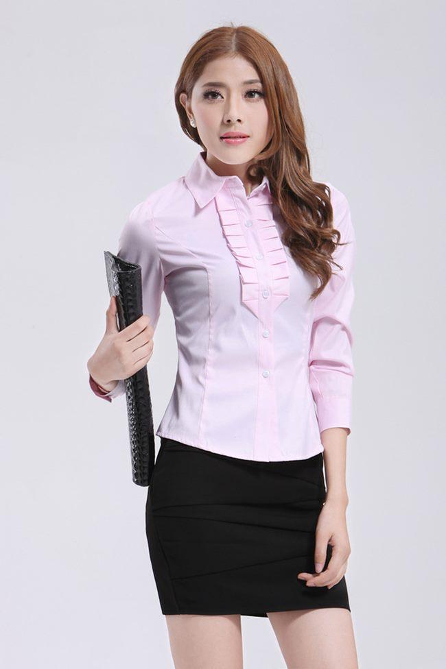 เสื้อเชิ้ตทำงานผู้หญิง สีชมพู คอปก แขนยาว กระดุมผ่าหน้า ผ้าคอตตอล
