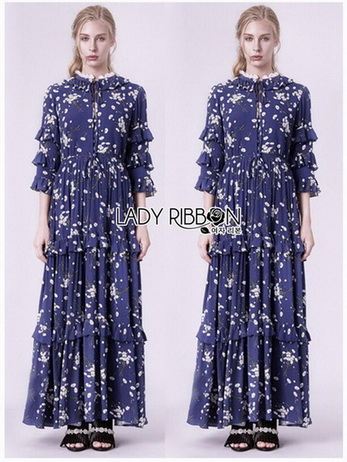 Navy Blue Chiffon Ruffle Maxi Dress