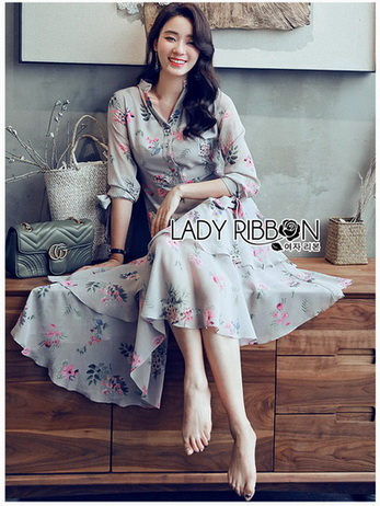 Blossom Layered Chiffon Lady Shirt Dress