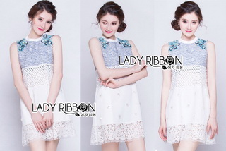 LR03290816 &#x1F380 Lady Ribbon's Made &#x1F380 Lady Jessie Sweet Floral Embellished Mixed Fabric Dress