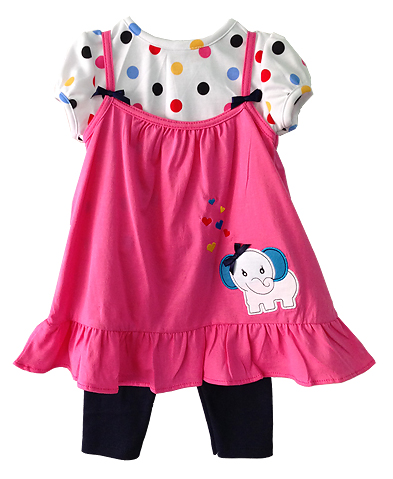 **Gymboree** SM1922 เสื้อผ้าเด็ก ชุด 3 ชิ้น เสื้อสายเดี่ยวเด็กหญิงปักลายช้างน่ารัก เสื้อตัวในคอกลมแขนตุ๊กตาผ้าคอตตอนเนื้อนุ่ม ใส่สบาย มาพร้อมเลกกิ้งเด็ก ผ้านุ่มเข้ากันค่ะ