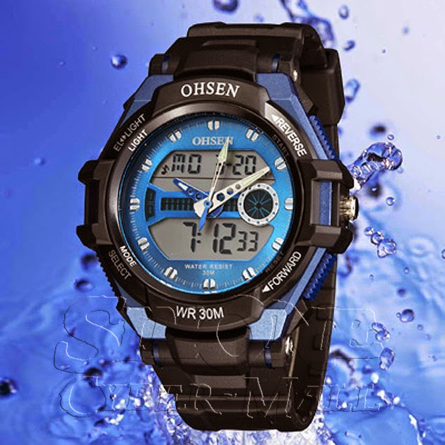 OHSEN – AD1302-3: Dual System Alarm / Chronograph Sports Watch