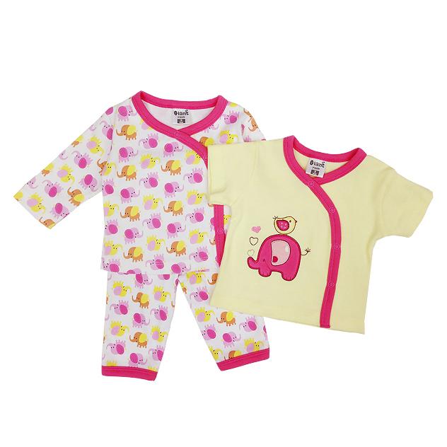 ขายส่งเสื้อผ้าเด็ก ชุดนอน 3 ชิ้น ปักลายช้างน่ารัก Size 3, 6, 9 เดือน