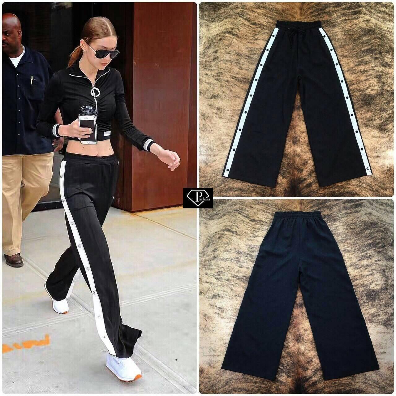 กางเกงขายาวกระบอกใหญ่คาดแถบข้างกระดุมแป้ก เกรดพรีเมี่ยม ดีเทลเนื้อผ้าวอร์มแบบบางเบา