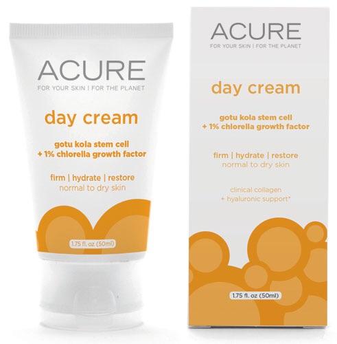 Acure Day cream ครีมบำรุงผิวสูตรออร์แกนิค ด้วยส่วนผสมอันทรงพลังของ Gotu Kola Stem Cells และ 1% Chlorella Growth Factors ช่วยกระตุ้นการสร้างเซลล์ผิวและคอลลาเจนขึ้นใหม่ เพื่อให้ผิวเนียนผ่อง เต่งตึง พร้อมกับฟื้นฟูและให้ความชุ่มชื่นแก่ผิวด้วยจ้า