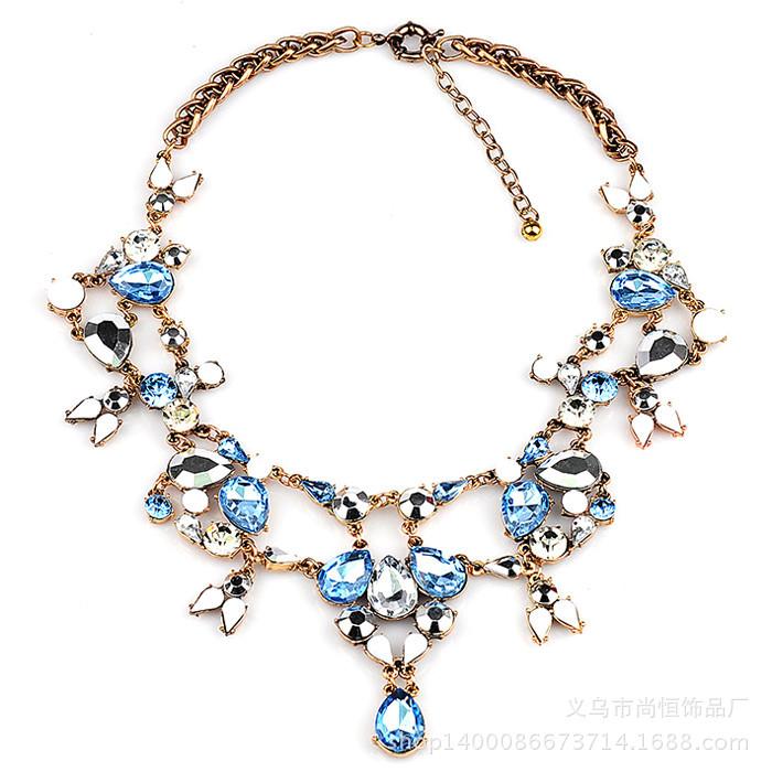 y1459 - สร้อยหิน สร้อยคอ สร้อยหินนำโชค เครื่องประดับ crystal flower necklace collarbone chain